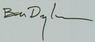 Authentic Bob Dylan  Autograph Exemplar